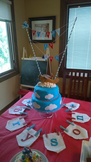 That banner didn't work out as planned - too top-heavy. So it became a cake accent!