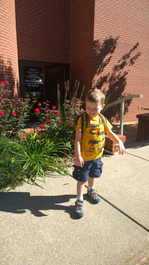 First day of 3-Year Old Preschool, but second year of school.  He's an old pro now!