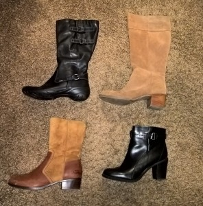 Ecco Rise Tall Boot (size 42), Bass Tan Suede Boots (size 11), Ugg brown booties (size 11), Franco Sarto black booties (size 11)