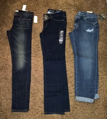 Left to Right: Bana.ana Re.public Washed Indigo Skinny (Size 28), Edd.ie Bau.er Slightly Curvy Bootcut (size 6 short), Ed.die Ba.uer Destroyed Boyfriend Slim (size 4)