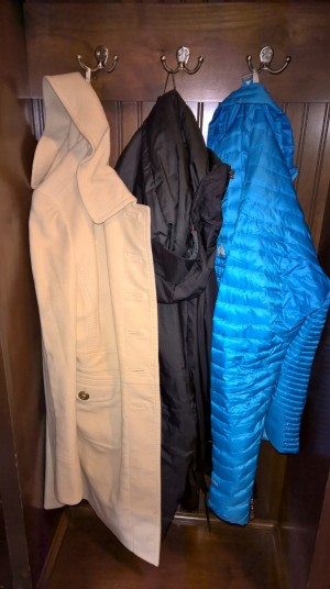 Ann Taylor cream coat (I love this coat!!!), North Face Men's Summit coat (LOVE!), Eddie Bauer Micro Therm Storm Down (I hate this coat - it is not warm at all)