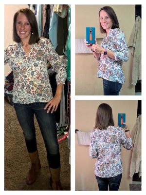 Zara printed blouse (size M, $38), BR skinnys, Ugg boots